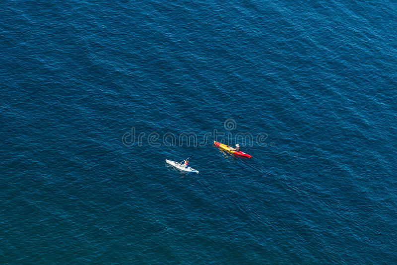 Two kayak paddlers royalty free stock photos