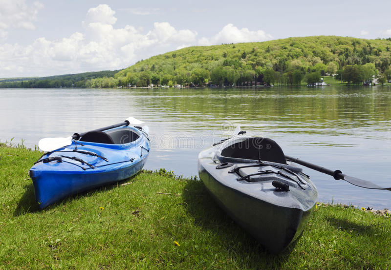 Download Kayak on the Shoreline stock image. Image of vessel, horizon - 29892299
