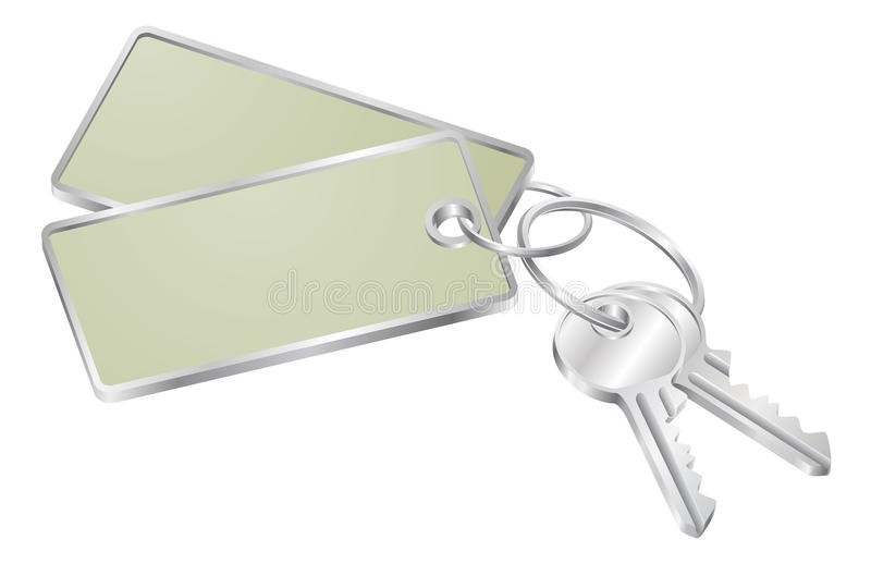 Two keys with blank tag for text royalty free illustration