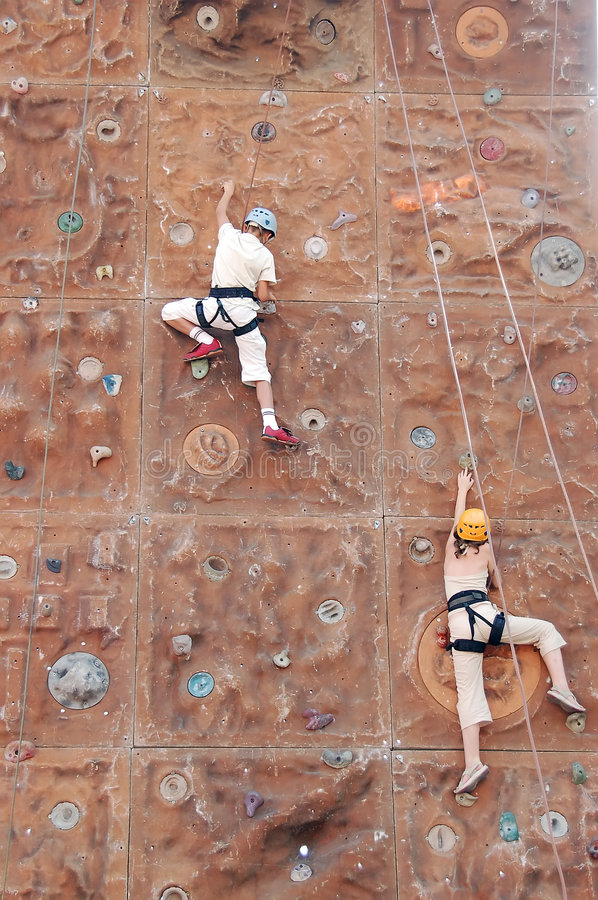 Download Two kid climbers stock image. Image of kids, rope, compete - 1008605