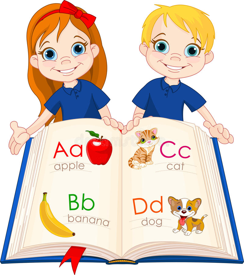 Two Kids And ABC Book Royalty Free Stock Image