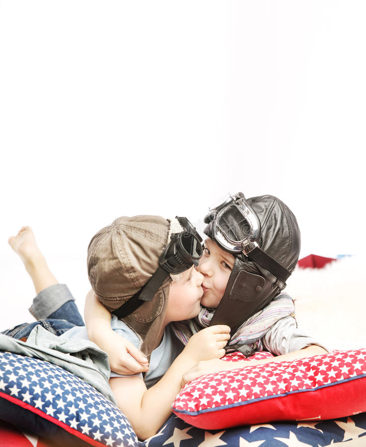 Two kids as a little pilots stock images