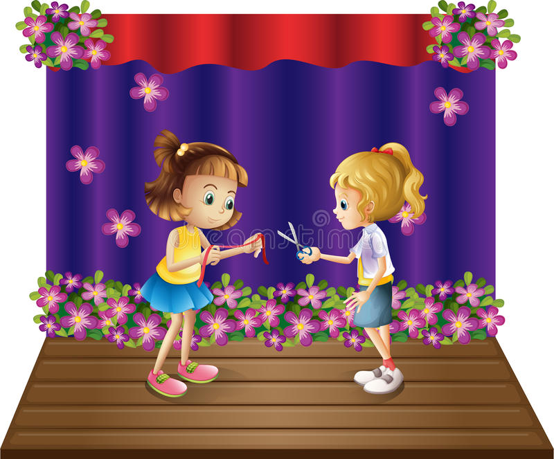 Download Two Kids At The Center Of The Stage Stock Vector - Image: 33141200
