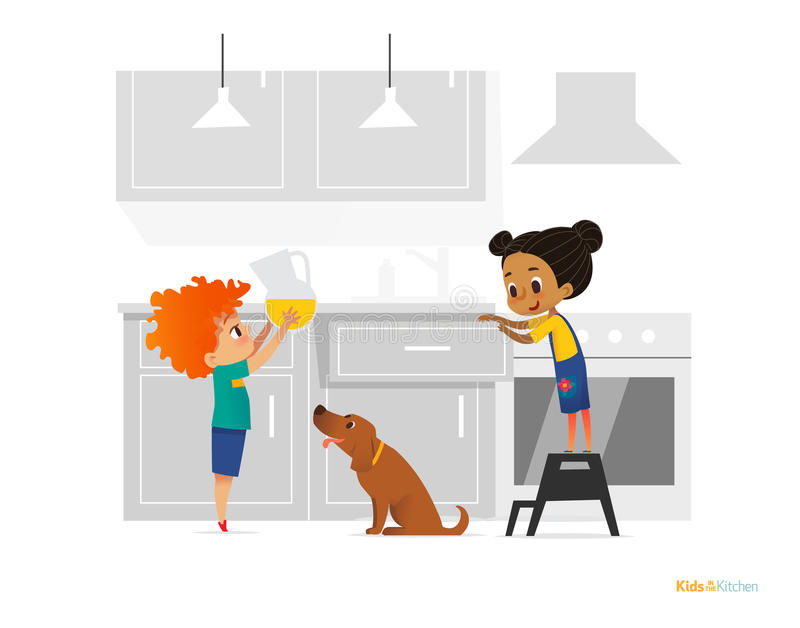 Two kids cooking morning breakfast in kitchen. Girl in apron standing on stool, boy putting pitcher with juice on table and dog. O vector illustration