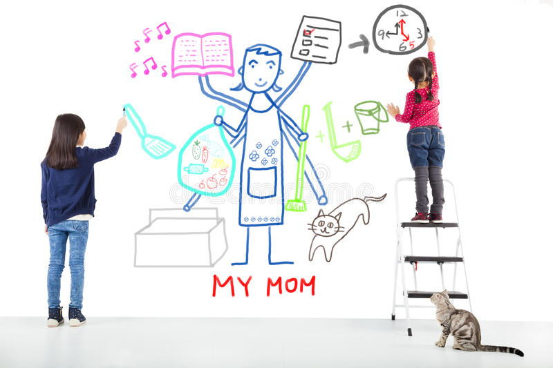 Two kids drawing her mother working tasks royalty free stock images