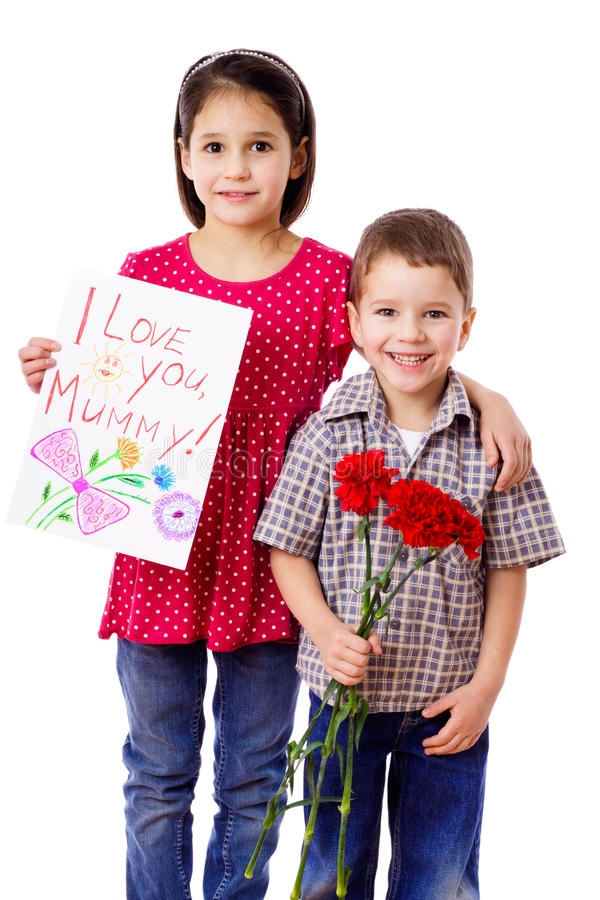 Download Two Kids With Greetings For Mum Stock Image - Image: 24125975