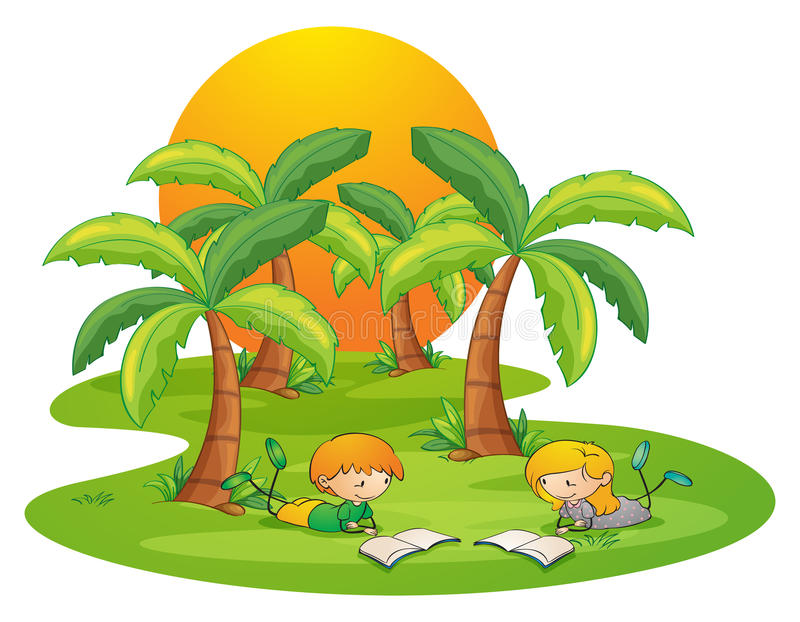 Two kids in the island reading near the coconut trees stock illustration