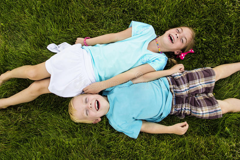 Download Two Kids Laughing And Having Fun Outdoors Stock Image - Image: 32432581