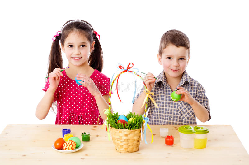 Download Two Kids Painting Easter Eggs Stock Image - Image of nest, paintbrush: 23458003