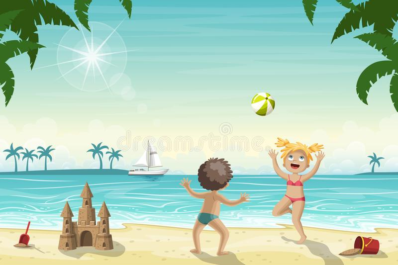 Two Kids Are Playing On The Beach stock illustration