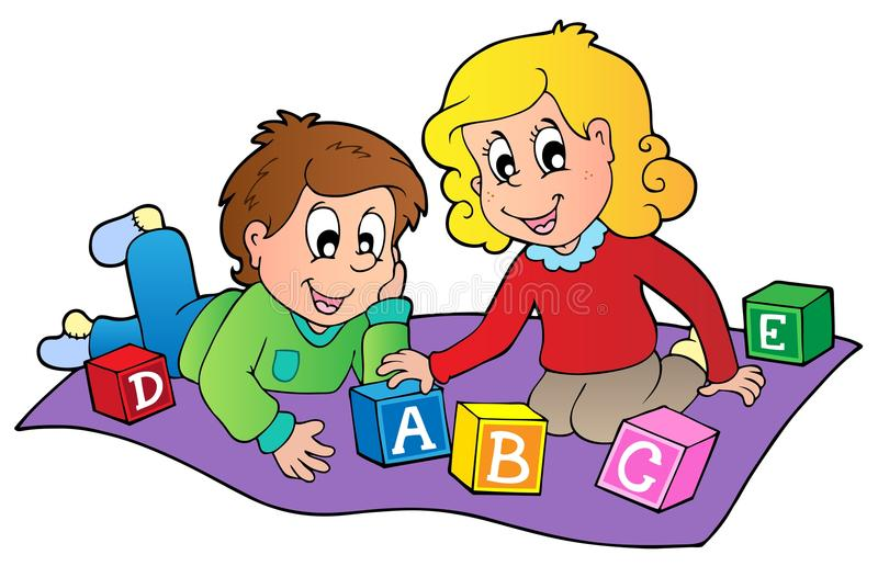 Download Two Kids Playing With Bricks Stock Vector - Illustration: 20966276