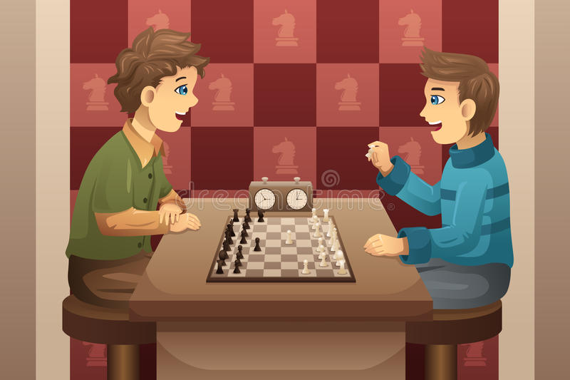 Two kids playing chess stock illustration