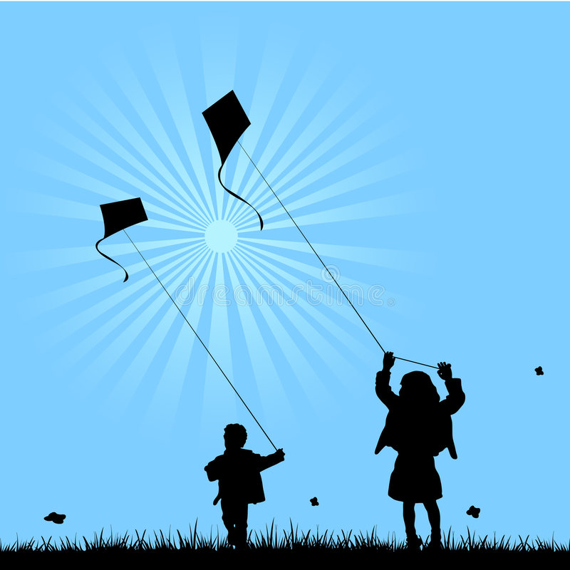 Two kids playing with kites. Vector illustration as silhouette of two children, a girl and a boy, playing with kites in a grass field in a clear day