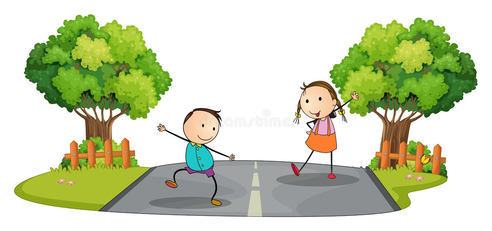 Two kids playing at the street royalty free illustration