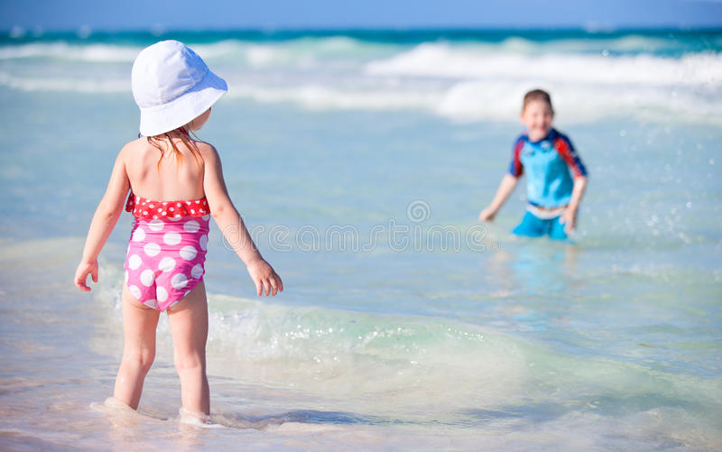 Download Two kids playing in water stock image. Image of caucasian - 19965763