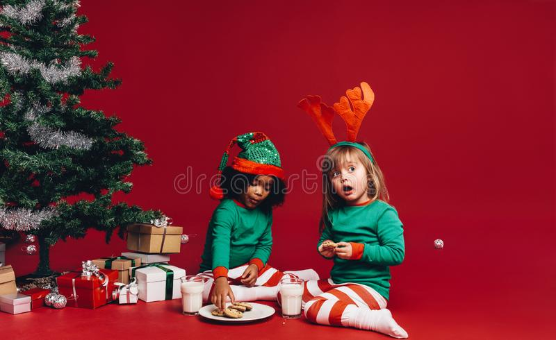 Two Kids sharing christmas cookies. Kids sitting beside a decorated christmas tree in fancy costumes. Kids eating cookies with milk sitting beside a christmas stock images