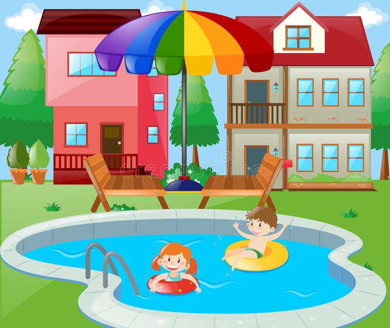 Two kids swimming in backyard. Illustration vector illustration