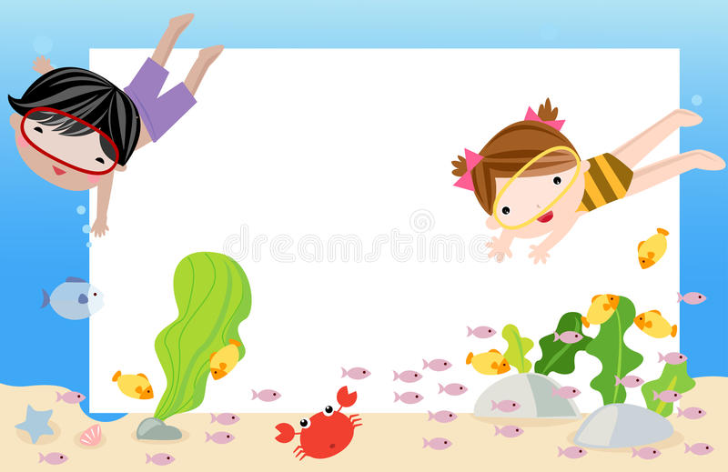 Two kids swimming and diving underwater in the ocean. Illustration of two kids swimming and diving underwater in the ocean vector illustration