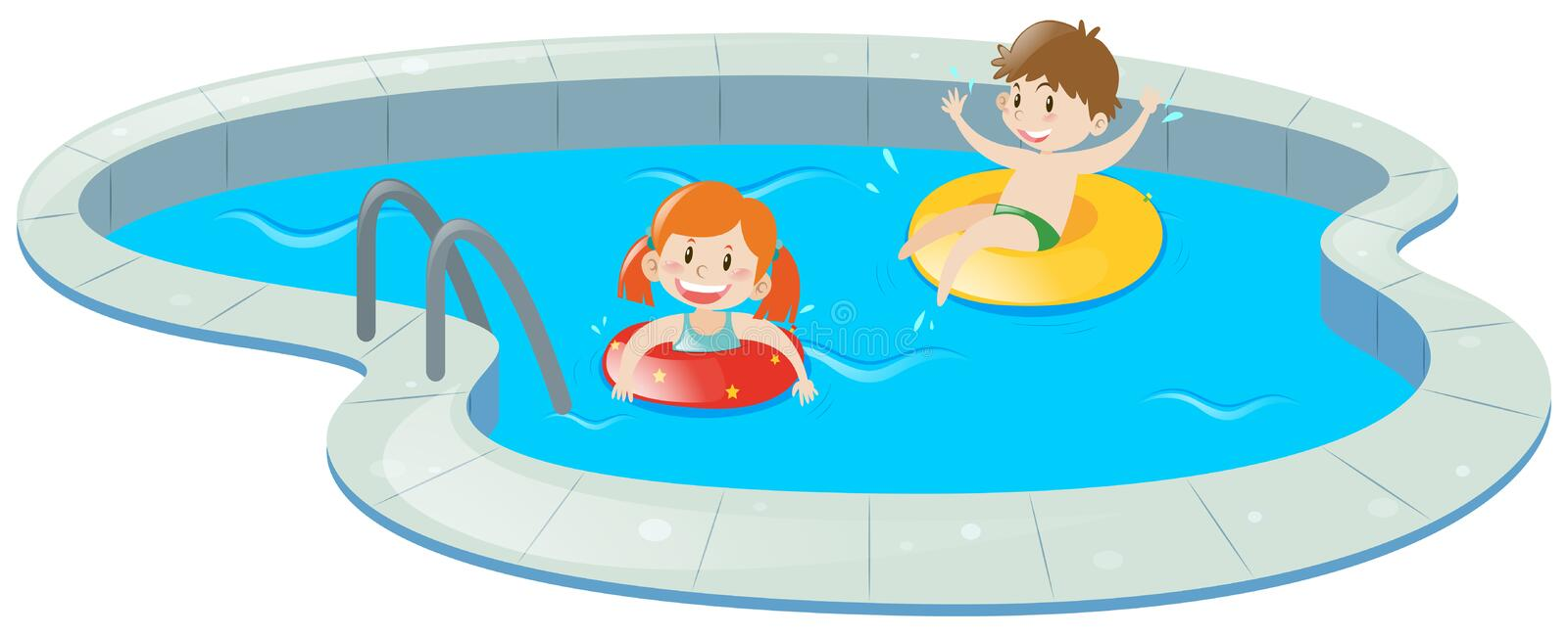 Two kids in swimming pool. Illustration royalty free illustration