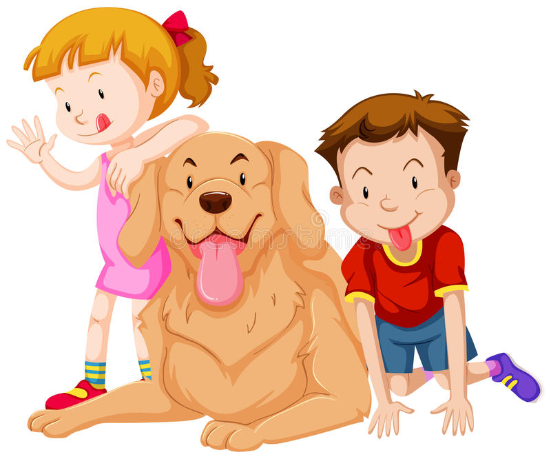 Two kids with their pet dog. Illustration stock illustration