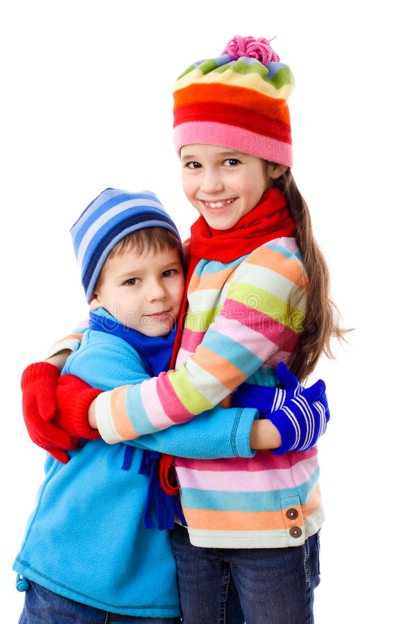Two kids in winter clothes stock photo. Image of couple ...