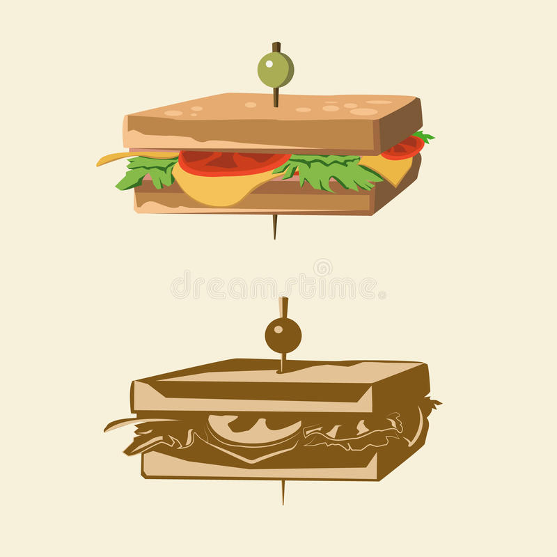 Two kinds of color sandwichs stock image