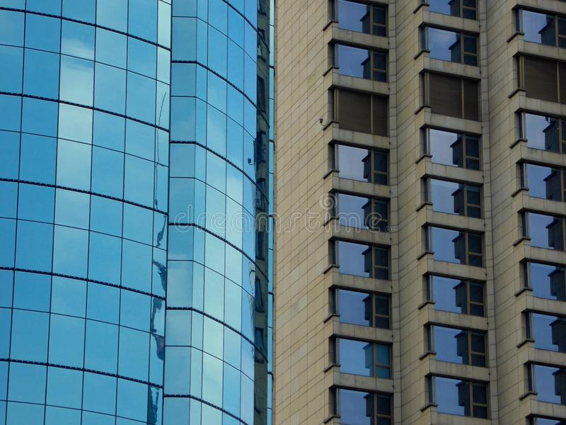 Two kinds of modern buildings exterior royalty free stock photos