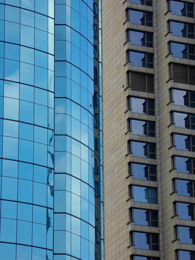 Two kinds of modern buildings exterior stock photo