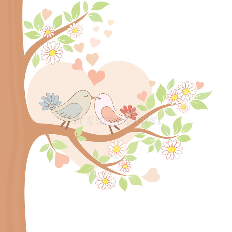 Two kissing birds on the tree royalty free illustration