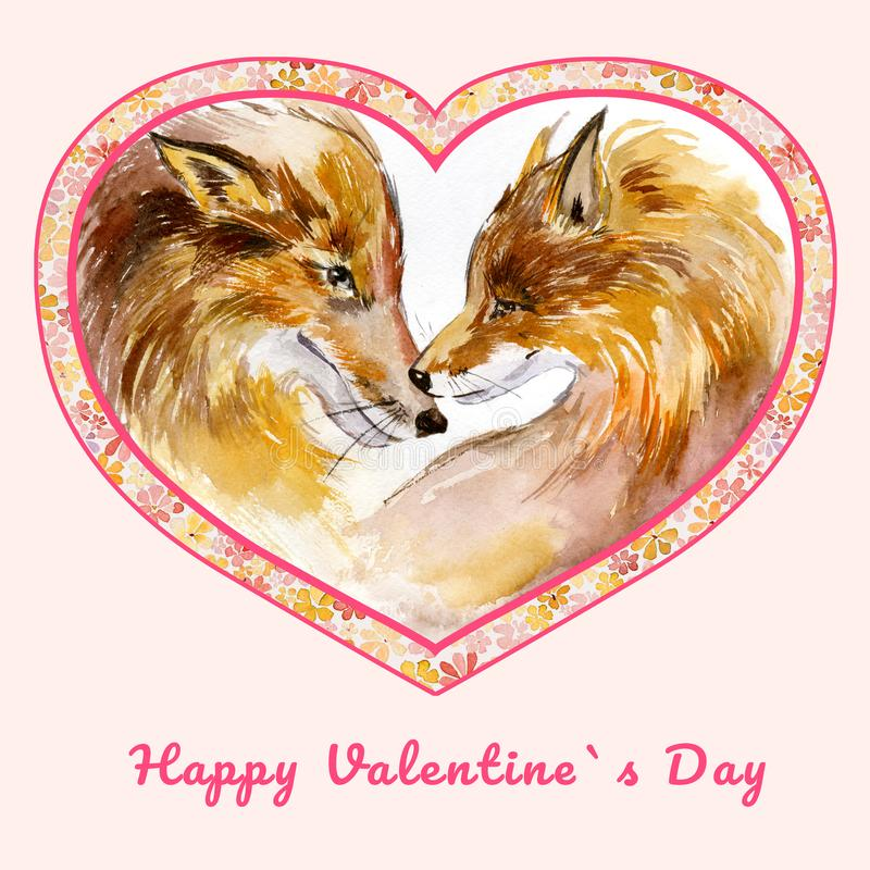 Two kissing foxes in heart shaped frame with small flowers. Sign Happy Valentine`s day. Watercolor painting. Hand drawn illustration. Square. Pink background royalty free illustration