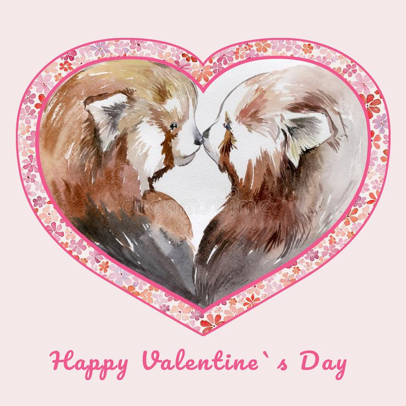 Two kissing red pandas in heart shaped frame with small flowers. Sign Happy Valentine`s day. Watercolor painting. Hand drawn illustration. Square. Pink stock illustration