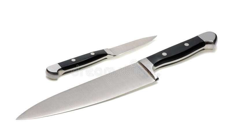 Two kitchen knives royalty free stock photos
