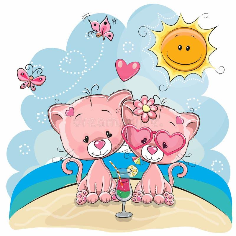 Two Kittens on the beach stock illustration