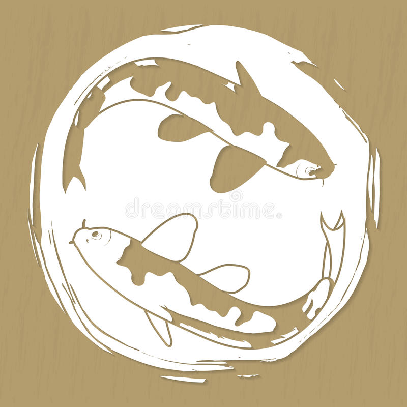 Two koi carps laser or plotter cut vector illustration for stickers, print, stencil manufacturing and engraving vector illustration