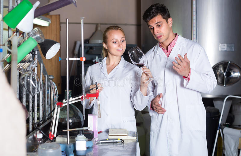 Two laboratory technicians at wine factory royalty free stock photo