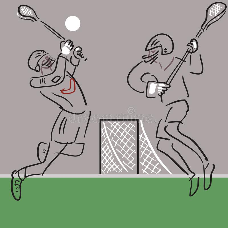 Two Lacrosse players in action vector background stock illustration