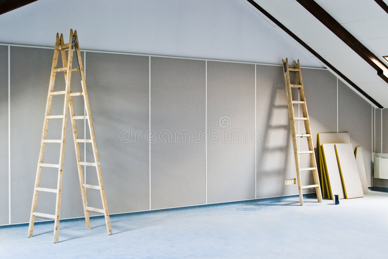 Two ladders and wall. Renovation interior with two ladders and wall stock photography