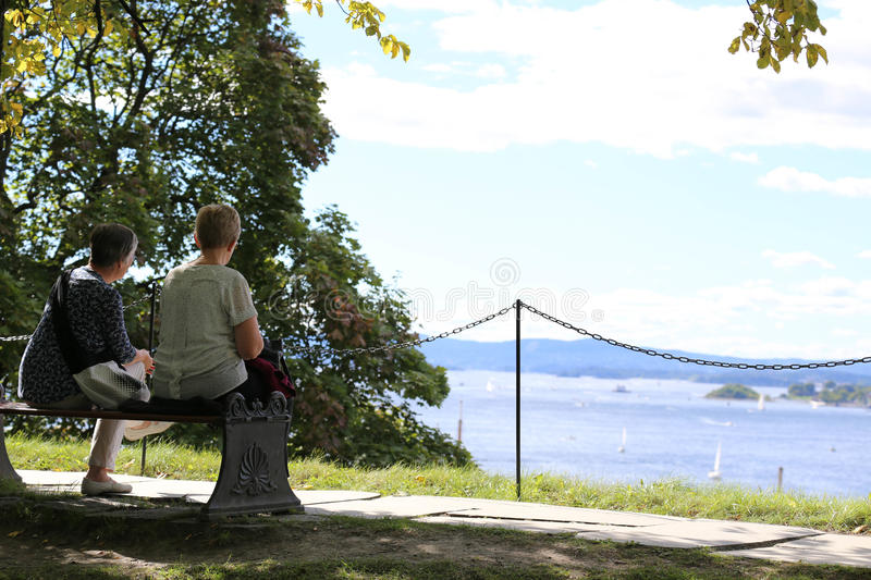 Two Ladies had a relax time in Oslo Norway royalty free stock photo