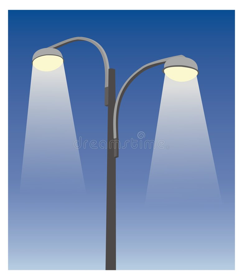 Two lamppost III. Two grey street lamppost in blue sky royalty free illustration