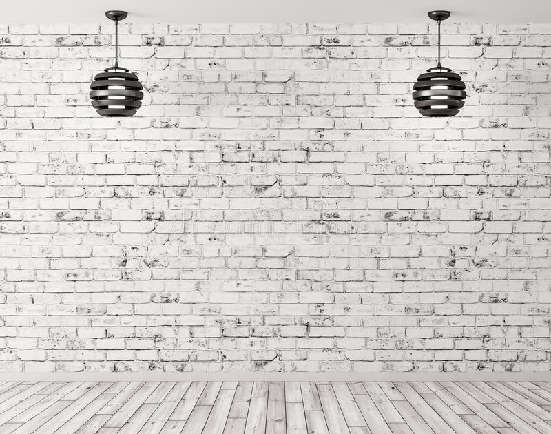 Download two lamps against of brick wall interior background 3d render stock illustration illustration of