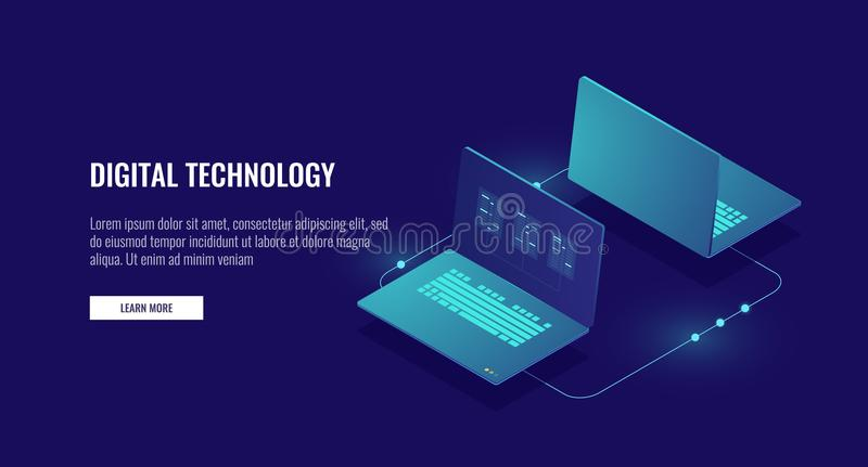 Two laptop computer exchanging data, data encryption, protected connection concept isometric. Vector stock illustration