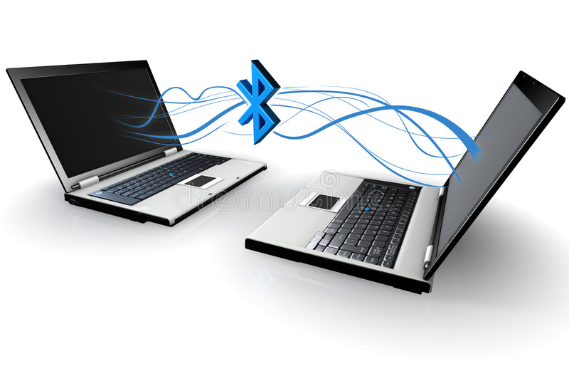 Two Laptops communicating wirelessly via bluetooth stock illustration