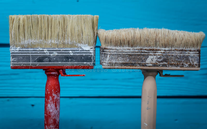 two large brush to paint stock image