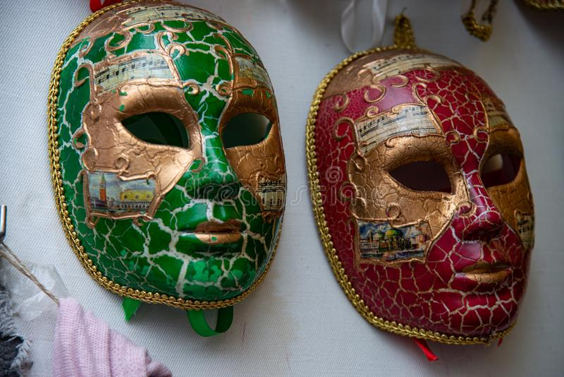 Two large carnival masks. Typical Venetian carnival masks, vintage. royalty free stock image