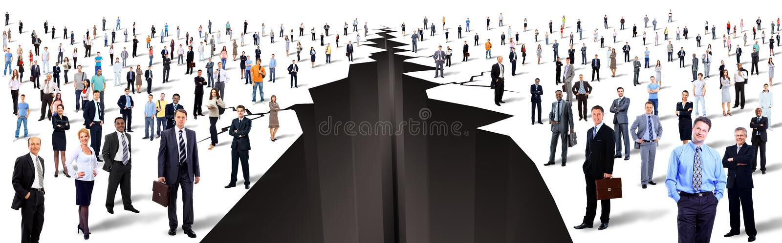 Between two large groups of people royalty free stock images