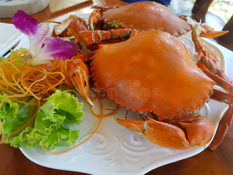 Two large steamed crabs in a white plate. Decorated with lettuce, carrots and orchids royalty free stock images
