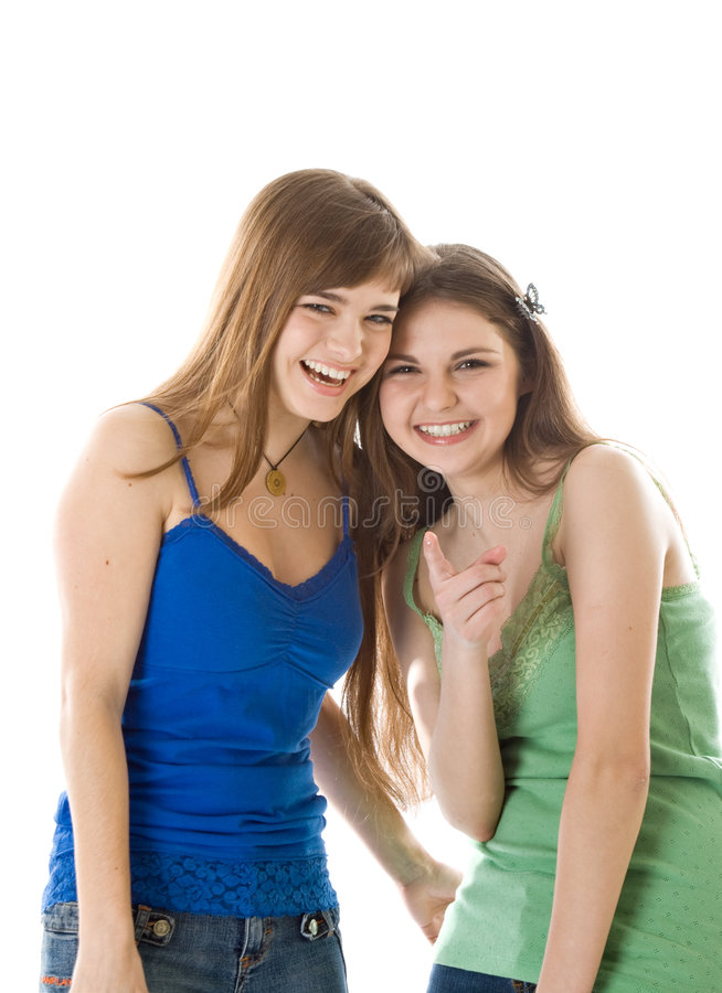 Download Two laugh teenage girls stock image. Image of hand, background - 8824599