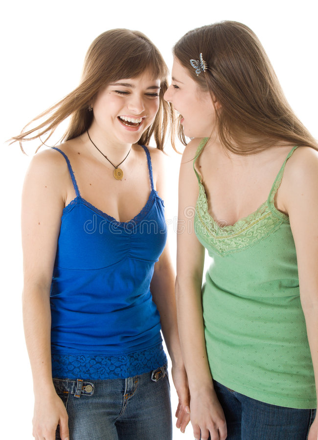 Two Laugh Teenage Girls Stock Photo