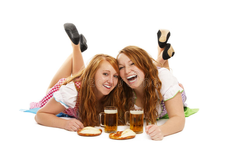 Download Two Laughing Bavarian Girls With Beer And Pretzels Stock Image - Image: 21812805