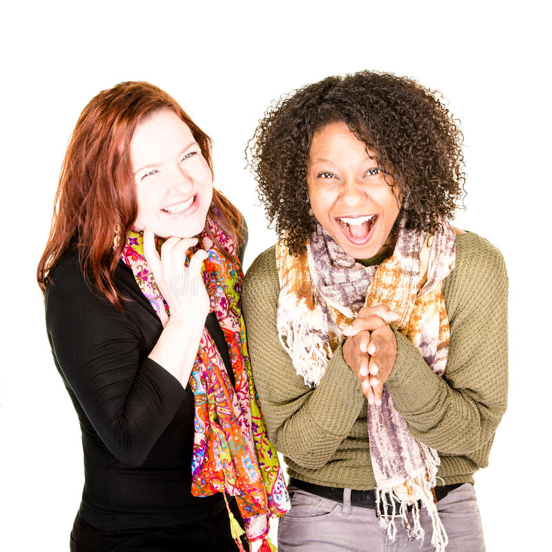 Two Laughing Beautiful Women royalty free stock image